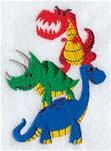 """Mighty Dino StackProduct ID:    E8705  Size:2.78""""(w) x 3.85""""(h) (70.6 x 97.9 mm)Color Changes:11  Stitches:12344Colors Used:9"""