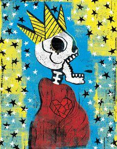 Dia de los Muertos Calavera El Rey  12x18 High by BoxingBear