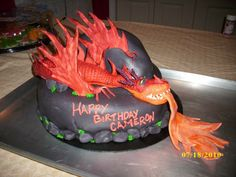 Monstrous Nightmare Cake - How to Train Your Dragon cake featuring Monstrous Nightmare.