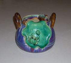 Vintage Majolica Style Pot Planter with Frog on Lily Pad and Handles in Collectibles, Animals, Amphibians & Reptiles | eBay