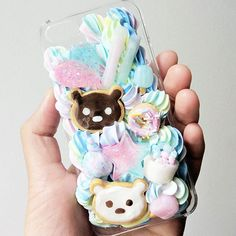 *fits Iphone 5/5s/SE Models  *robust and waterproof case  *polymer clay coated in resin   *Rainbow icing border  *Silicone case