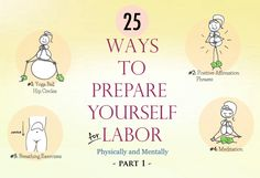 A great list for pregnant mamas! Breathing exercises, pain management, prenatal yoga, perineal 'massage', I've rounded up what ended up being the 25 most useful resources in both of my birthing experiences to help me prepare for labor in view of natural childbirth. 25 Ways To Prepare For Labor (Physically and Mentally) - Part 1