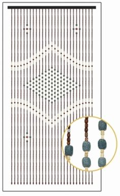 Wooden Bead Curtain - Genie - Green Center - 36' x 71' - 27 Strands of wooden beads in irregular shaped squares in light beige and dark brown, accented with cherry red and jade green circles.