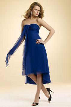 Strapless A-line with sash chiffon bridesmaid dress