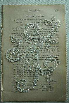 stitched paper...use your favorite books or even a print out of your marriage vows!