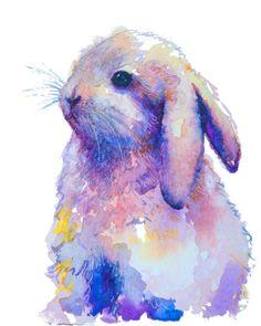 Giclee PRINT of original Rabbit Watercolor by EbbAndFlowWatercolor