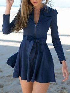 Shop Marineblaues Hemdkragen Reißverschluss vorne Geschnürte Taille Langarm Kleid Top from choies.com .Free shipping Worldwide.$16.11