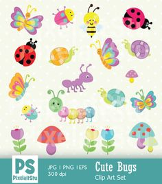 Cute Bugs Clip Art Graphics Set Bugs Digital Clip by PixelaitStu Butterfly Design, Creative Sketches, Pencil Illustration, Paint Markers, Business Card Logo, Craft Items, Watercolor And Ink, Handmade Crafts, Painting & Drawing
