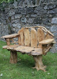 Fair-Trade Awesome Hand Carved Solid Coffee Root Bench Siiren Cedar Furniture, Rustic Furniture, Driftwood Projects, Green Woodworking, In Natura, Recycled Garden, Got Wood, Outdoor Crafts, Wooden Cabins