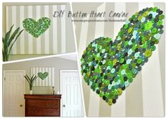 DIY Button Heart Canvas upcycled from a Good Will watercolor. #decor #style #the better half
