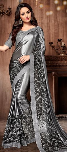 Buy latest saree designs, designer indian outfits like fashion saree. Order this elite black and grey shaded saree for festival, party and wedding. Black Net Saree, Grey Saree, Lace Saree, Silk Sarees, Saris, Saree Designs Party Wear, Party Wear Sarees, Saree Blouse Designs, Chiffon Saree Party Wear