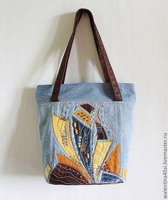 """Купить Сумочка """"Солнечные паруса"""" - джинсовый стиль, джинсовая сумка, кожа натуральная, морская тема"""