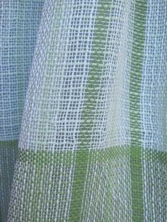 Scarf, Handwoven Green & White Lightweight Lacy Cotton