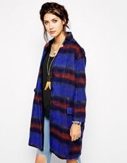 Free People Overcoat in Brushed Stripe