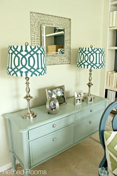 mint aqua hutch makeover with Annie Sloan chalk paint