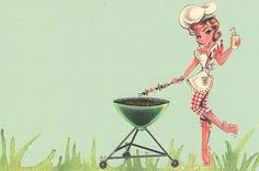 i can already smell the bbq Green Bbq, Cartoon Drawings, Art Drawings, Bbq World, Grillin And Chillin, Invitation Set, Invites, Pin Up Photography, Up Girl