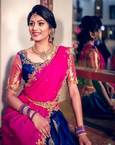 Exclusive Saree Blouse designs for every South Indian Bride!- Eventila - Exclusive Saree Blouse designs for every South Indian Bride! Half Saree Designs, Pattu Saree Blouse Designs, Blouse Designs Silk, Bridal Blouse Designs, Lehenga Designs, Dress Designs, Half Saree Lehenga, Lehenga Blouse, Lehnga Dress