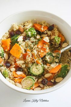 This Brussels Sprout Sweet Potato Quinoa Bowl is packed with protein and ready…