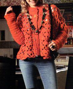 tejidos artesanales en crochet: saco calado en color naranja