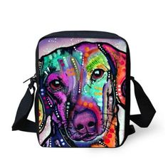 Women Messenger Bags Colorful Pet Dog Shoulder Bag Cross Body Bag Pug Bulldog Messenger-Bag for Woman