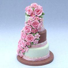 Three tier wedding cake - dollhouse miniature by Blue Kitty Miniatures, via Flickr