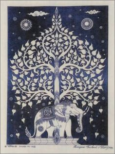 Thai traditional art of Bodhi tree by printing on Natural colors cloth (Blue Color)