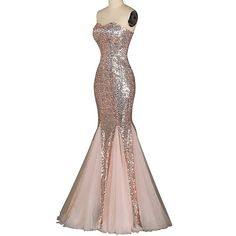 Cheap Womens Sweetheart Mermaid Prom Dresses Sequined Formal Evening Gown (Prom Dress RBAM0039)