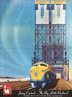 Original Deco Bern Hill Railroad Poster 1940s Jersey Central