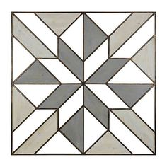 The modern design of Wood and Metal Geometric Wall Decor adds elegant drama to any room in your home. The dark and light grey tones of the geometric shapes bring dimension to the wall space. Mounts right to wall with the attached sawtooth hanger. Barn Quilt Designs, Barn Quilt Patterns, Pattern Blocks, Quilting Designs, Geometric Wall Art, Geometric Shapes, Geometric Patterns, Zentangle, Blackwork