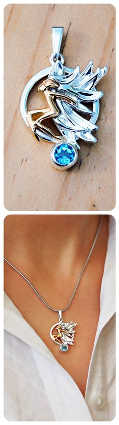 Pendant | 14k Gold Angel with Sterling Silver Wings | Natural Blue Topaz Gemstone