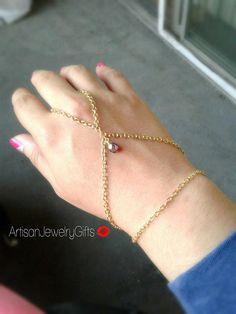 Gold slave bracelet red Czech glass fire polished bead bohemian hand chain