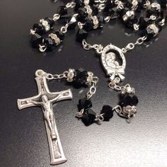 Blessed Virgin Mary -Sparkling Crystal Rosary -Rhinestone -Blessed by - Catholically
