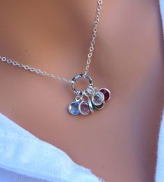 Family Birthstone necklace in STERLING SILVER. by RoyalGoldGifts