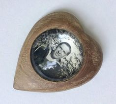 Sweetheart Brooch Wood Photo Brooch WW2