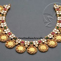 Ram Sita Gold Polki Kasu Necklace