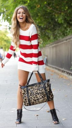 red and white striped sweater dress# candy cane Christmas# sweater❤