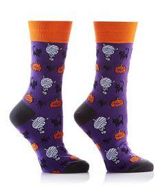 d85447c6baa Loving this Purple  amp  Orange Mummies Cats Crew Socks on  zulily!   zulilyfinds