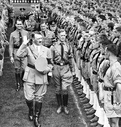 Adolf Hitler, Rudolf Hess, Baldur von Schirach at the Nuremberg Rally, 1935 Ww2 History, European History, World History, Luftwaffe, Nuremberg Rally, Germany Ww2, War Dogs, The Third Reich, Germany