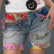 £: Hot Pants 2015 Spring/Summer Fashion New Sell Hot Desigual Embroidery Beaded Jeans Shorts Feminine Women Diy Jeans, Jeans Refashion, Hot Pants, Sewing Clothes, Diy Clothes, Mode Jeans, Recycled Denim, Recycled Clothing, Recycled Fashion