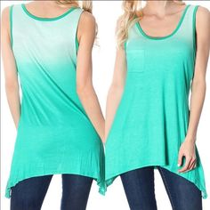 SLEEVELESS ASYMMETRICAL TIE DYE TOP - GREEN MADE IN USA - Restocked because they sold out so fast! These are a must for spring and summer because you throw them on with a skirt, shorts or pair of pants and they already look fabulous with its gorgeous green ombre Print. This top is very lightweight so won't overheat you. You could even layer a tank underneath this if you wanted to. 95% polyester, 5% spandex. Have S(2-4) M(6-8) L(10-12) ✅MEGA FAST SHIPPER! ValMarie Boutique Tops