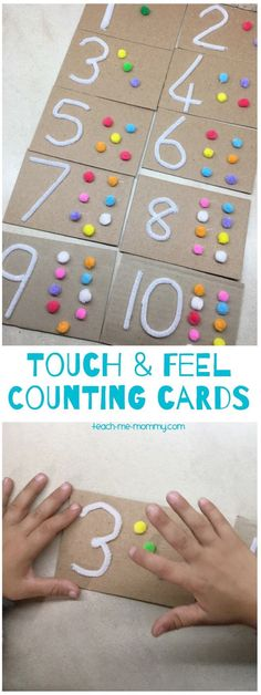 Touch & feel counting cards, a fun multi sensory learning tool to make yourself! - Montessori , Touch & feel counting cards, a fun multi sensory learning tool to make yourself! Touch & feel counting cards, a fun multi sensory learning tool to . Preschool Learning Activities, Preschool Classroom, Learning Tools, Fun Learning, Preschool Activities, Feelings Preschool, Teaching Kindergarten, Montessori Preschool, Preschool Education