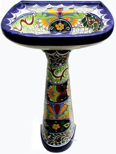 This unique bath sink is made of sink bowl and a pedestal. Both pedestal and the sink are decorated with the same pattern. Mexican Ceramics, Talavera Pottery, Pedestal Sink, Mexican Style, House Design, Home Decor, Hand Painted, Bathroom Accessories, Bathroom Sinks