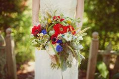 // Hello, red anemone bouquet. You are now my favorite ever. Bouquet by Gertie Mae's Floral Studio, photo by Love is a Big Deal (oh my gosh, LOVE their work!).
