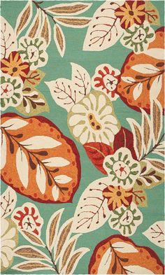 modernrugs.com storm aqua orange floral modern rug