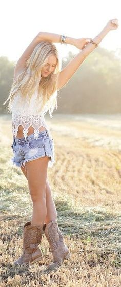 Sexy cut off shorts with a crochet top & cowboy boots