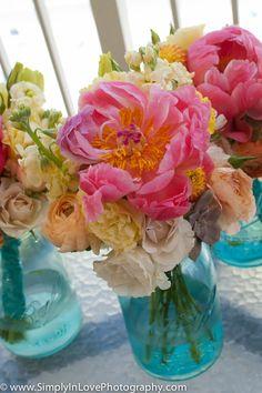 peonies and vintage mason jars...LOVE...I have the jar all I need are the peonies! :)