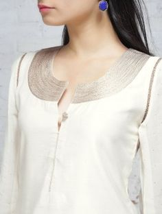 Ivory Zari Embroidered Chanderi Georgette Kurta