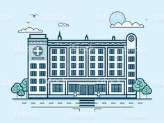 Городской улицы с современным многоэтажных больницы, современная архитектура в линии Сток Вектор Стоковая фотография