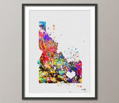 Idaho State Watercolor USA Map illustrations Art by CocoMilla, $15.00. I LOVE this one!
