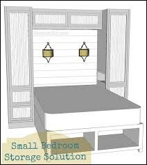 Bedroom built in storage maximising space. Includes lights as well. Good option rather than small side tables. like the under bed storage too. Maybe keep low and top above bed storage to give less of a closed in feel